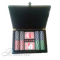 Покерный набор в дубовом кейсе 200 фишек