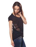 Черная футболка с прозрачной спинкой (S-XL), фото 1