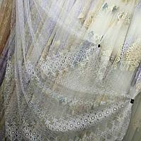 Білосніжна тюль на фатиновой основі з вишивкою корд (шнуром), фото 1
