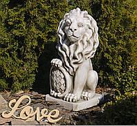 Садова скульптура Лев 35.5x28.5x62.5 см SS12149-58 колір бежевий., фото 1