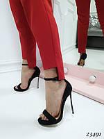 Босоножки Casadei с ремешком на каблуке черные. Аналог, фото 1