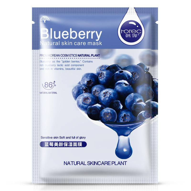 Маска для лица с черникой питательная для чувствительной кожи Rorec Blueberry Natural Skin Care Mask (30г)