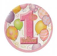 Тарелки 1-st Birthday girl 8шт/уп 23884