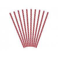 Трубочки для коктейля красные в горох 10шт/уп 49443