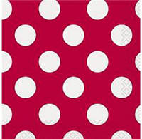 Салфетки красные в белый горох 30425