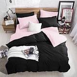 """Семейный комплект постельного белья ТМ """"Ловец снов"""", Однотонный черный, фото 6"""