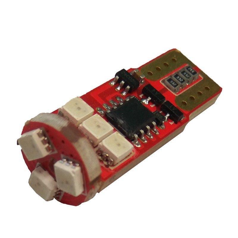 Лампа LED 12V T10 (W5W) 9SMD 2835 мультицвет флеш RGB
