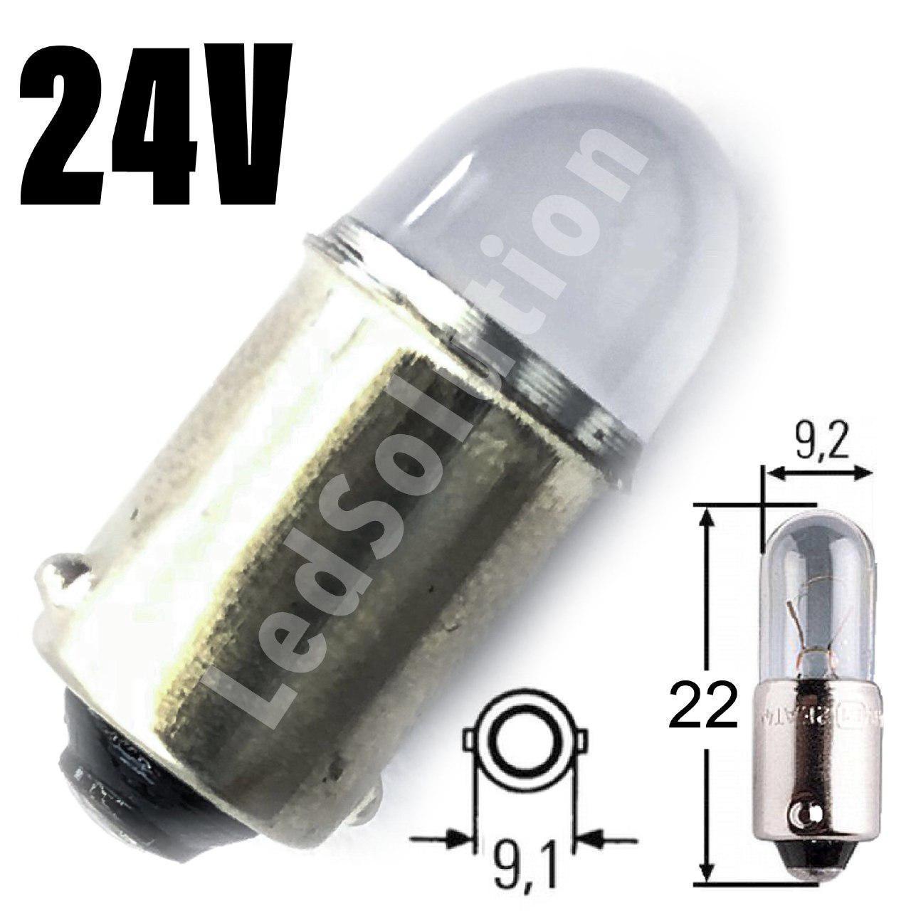 Лампа LED 24V T4W (BA9s) 2smd 2835 Osram куля 28Lm ЧЕРВОНИЙ
