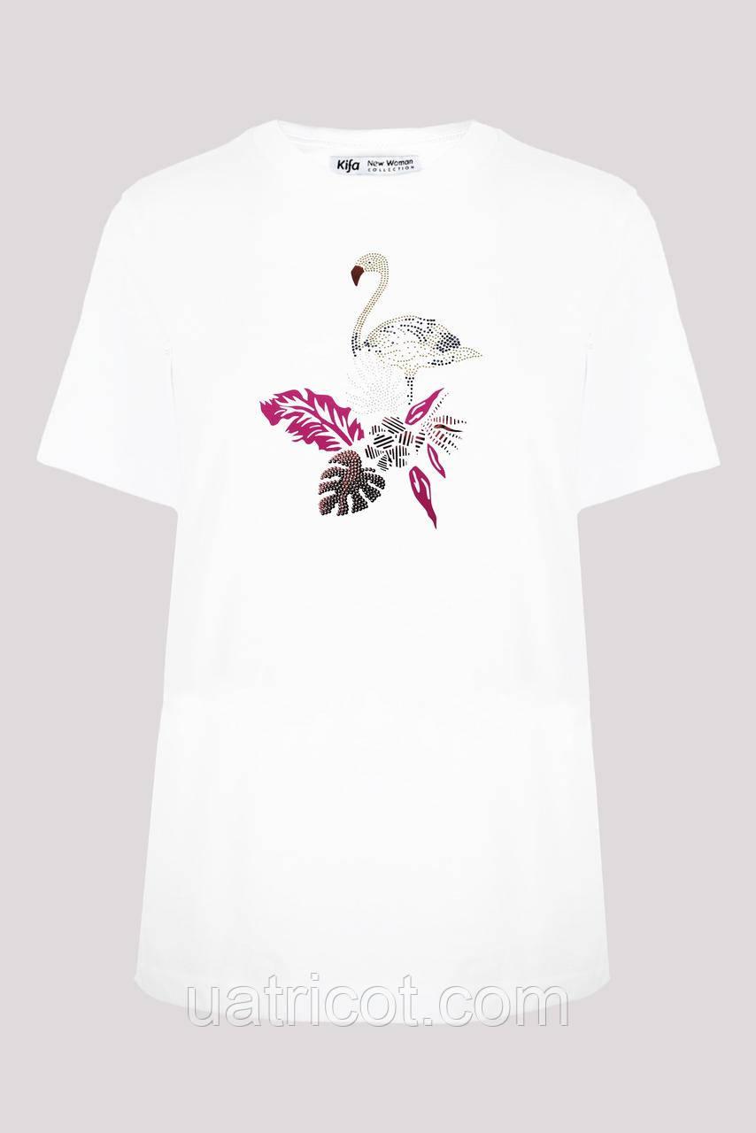 Футболка женская KIFA ФЖ-019/13 Фламинго белая