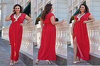 Женское летнее нарядное платье в горох большие размеры Г04030, фото 1