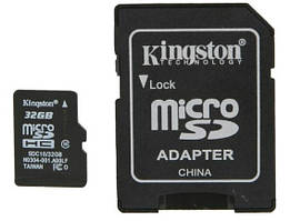 Флеш память MicroSD 32GB Kingston + SD (Class 10) (SDCS/32GB)