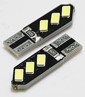 Лампа LED 12V T10 (W5W) 6SMD 5630 (черная плата PCB) 105Lm БЕЛЫЙ