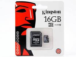 Флеш память MicroSD 16GB Kingston (Class 10) SD Adapte