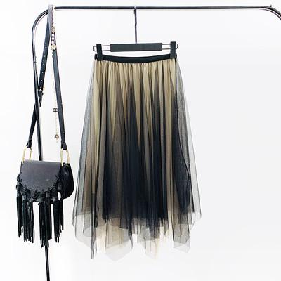Женская длинная плиссированная юбка из фатина Градиент черная