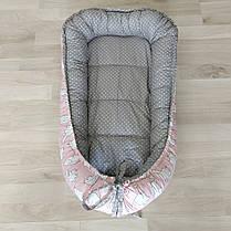 Детский кокон позиционер для новорожденных розовый, фото 2