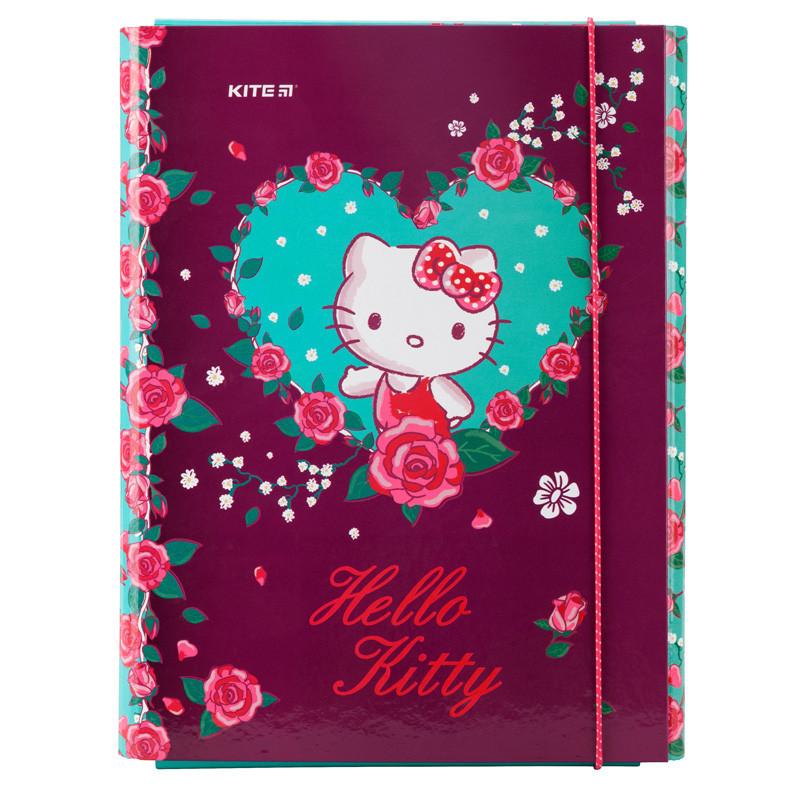 Папка для праці першокласника для дівчаток з наповненням Hello Kitty, А4 на гумці економ