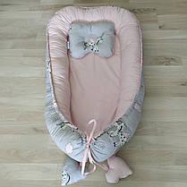 Детский кокон позиционер с подушечкой для новорожденных розовый единорог, фото 3