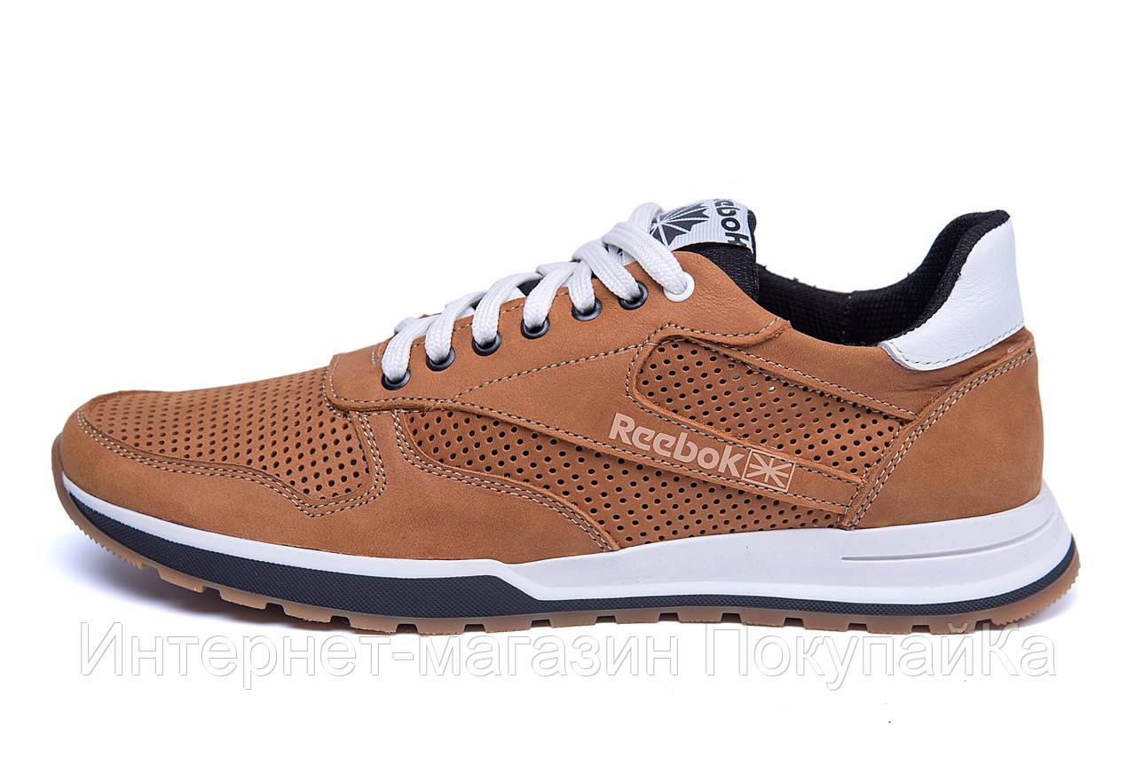 2e585481 Мужские кожаные летние кроссовки, перфорация Reebok Classic Brown (реплика)