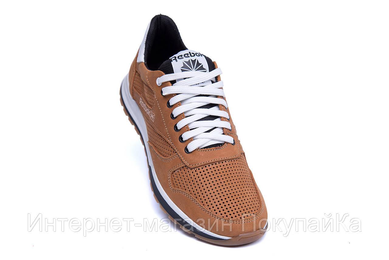 18bdd391 Мужские кожаные летние кроссовки, перфорация Reebok Classic Brown (реплика),  ...