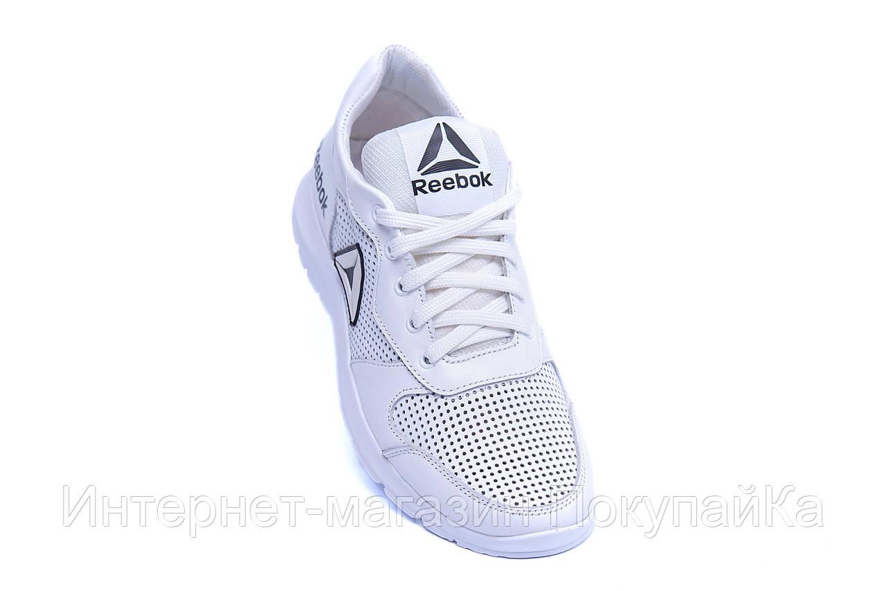 69ff92c9 Мужские кожаные летние кроссовки, перфорация Reebok Classic White (реплика),  ...