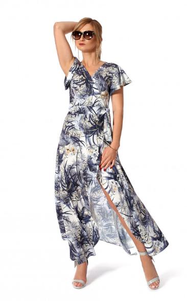"Платье ""Эмма"" размеры 44,46 цвет серый с желтым"