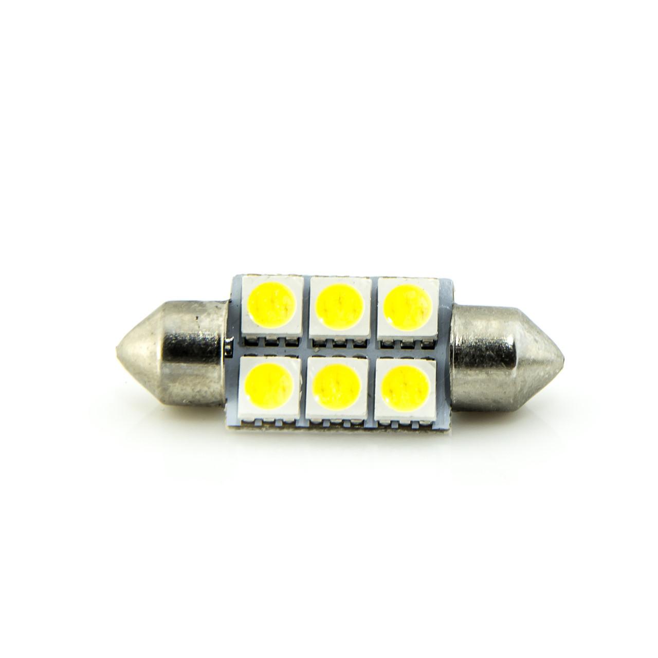 Лампа LED 24V AC (C5W) 6SMD 5050 36мм 85Lm БЕЛЫЙ