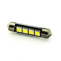 Лампа LED 12V AC (C5W) 4SMD 5050 42мм обманка 56Lm БЕЛЫЙ, фото 1