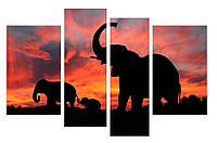 Модульная картина Декор Карпаты 110х70 см Слоны (M4-z-196-1)