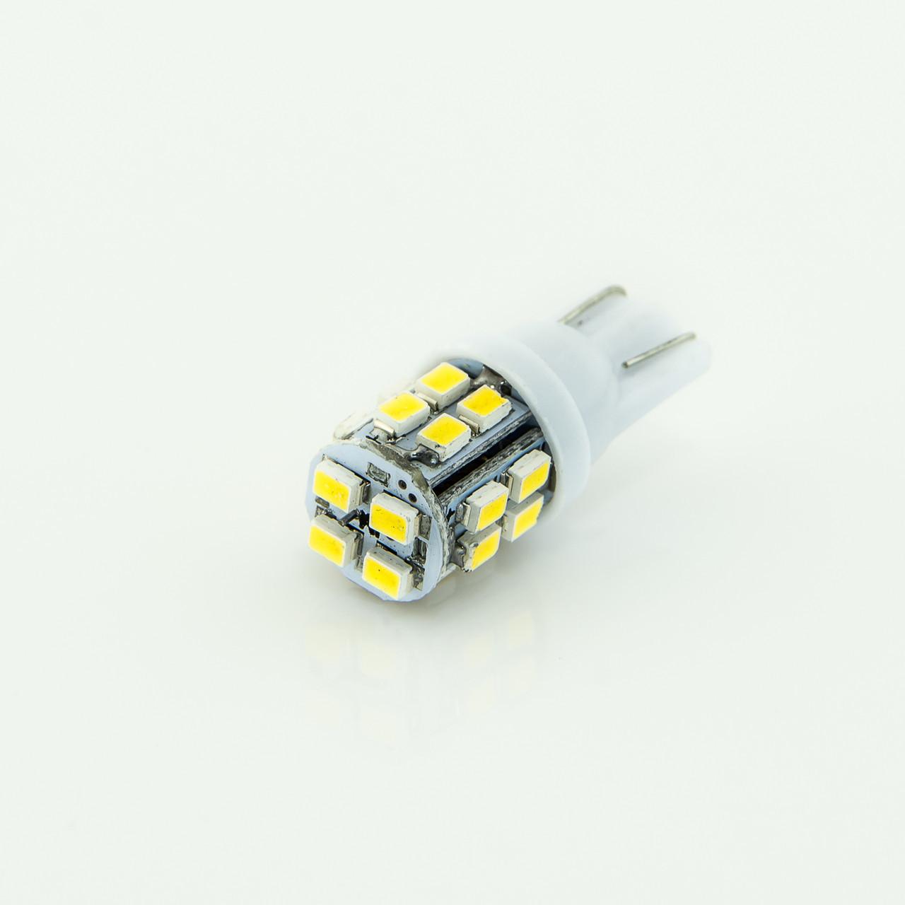 Лампа LED 12V T10 (W5W) 20SMD 3020 55Lm БЕЛЫЙ