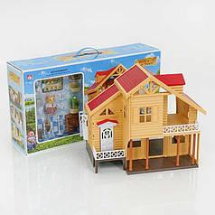 Домик с флоксовыми животными Happy Family 012-03 Загородный Домик (аналог Sylvanian Families)