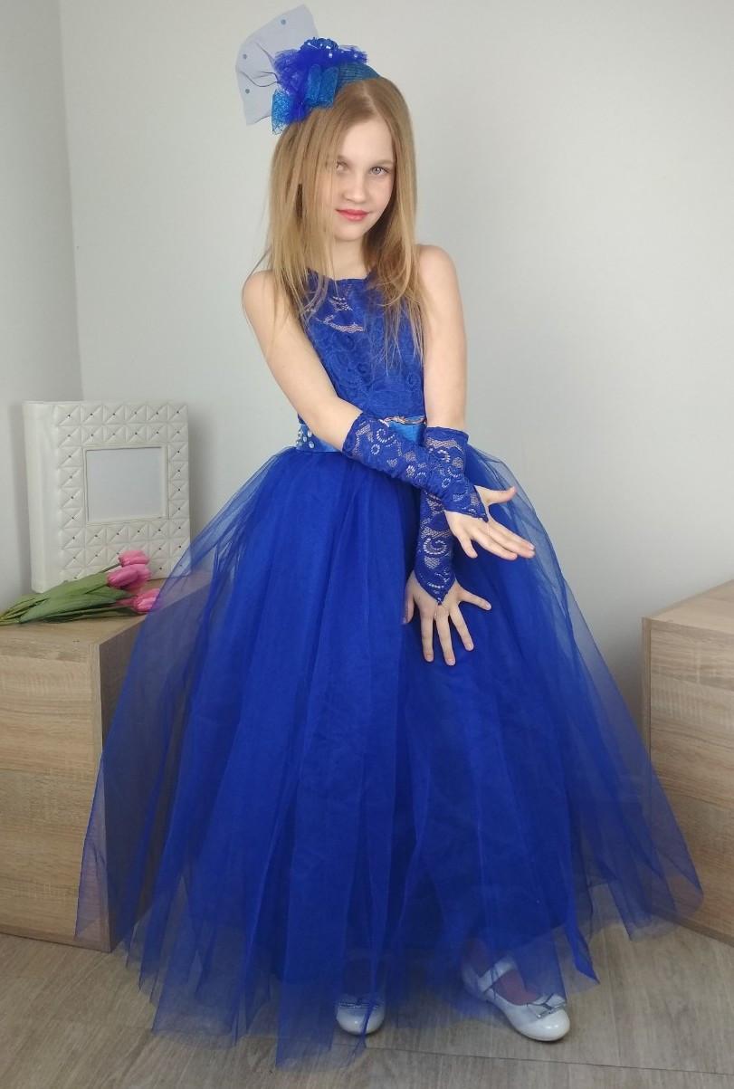 Выпускное синее платье с юбкой из фатина на девочку 4-10 лет