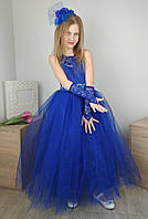 Выпускное синее платье с юбкой из фатина на девочку 4-10 лет, фото 1