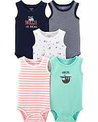 """Набор боди футболка на короткий рукав 5 шт """"Ленивец """" Carter's для мальчика бодики маечка для малыша картерс"""