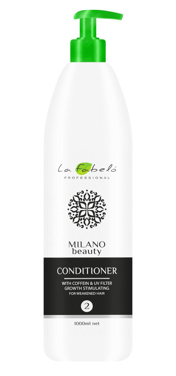 Кондиционер укрепляющий для мужчин, 1 л, La Fabelo Milano Beauty Coffein & UV Filter