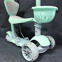 Детский Самокат С сиденьем и родительской ручкой Scooter PRO -  Самокат 5 в 1 - Ментол, фото 3
