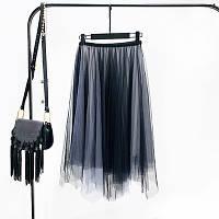 Женская длинная плиссированная юбка из фатина Градиент серая, фото 1