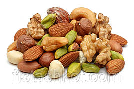 Ассорти сырых орехов (миндаль, кешью, фундук, грецкий орех, ядро фисташки)