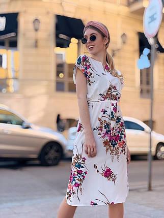 Легкое летнее платье с коротким рукавом Белый + бордо, фото 2