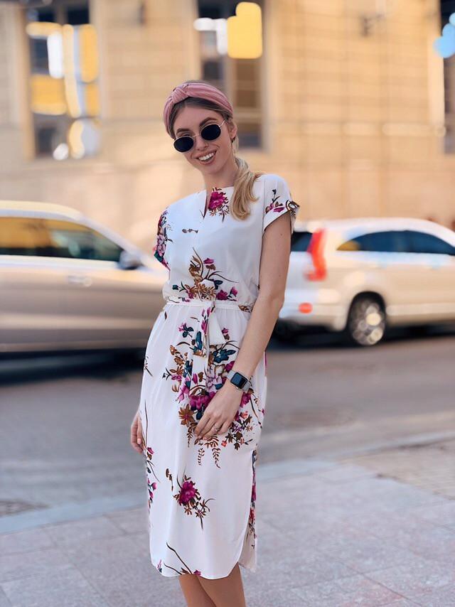 Легкое летнее платье с коротким рукавом Белый + бордо
