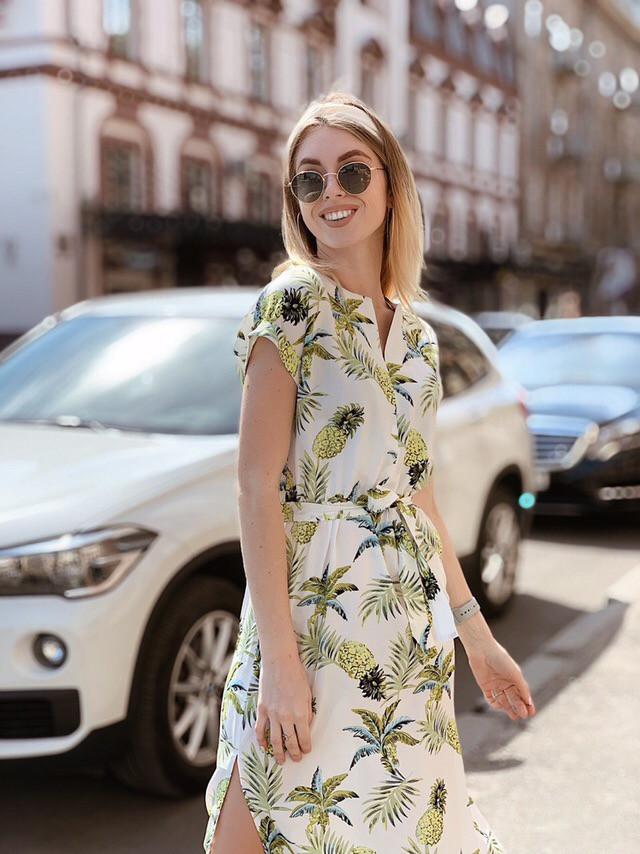 Легкое летнее платье с коротким рукавом Зеленый