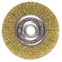Щетка для УШМ, 175 мм, посадка 22,2 мм, плоская, латунированная витая проволока MATRIX