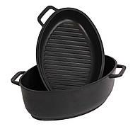 Гусятница + крышка-сковорода гриль Биол Г401П (4л)