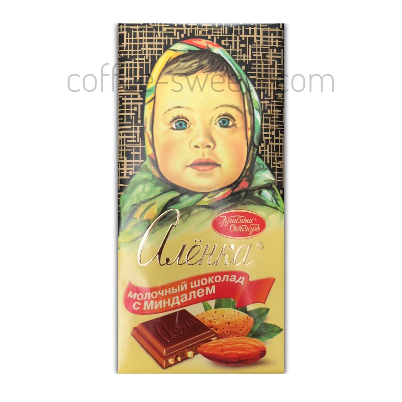 """Шоколад молочный """"Аленка"""" с миндалем 100 гр"""