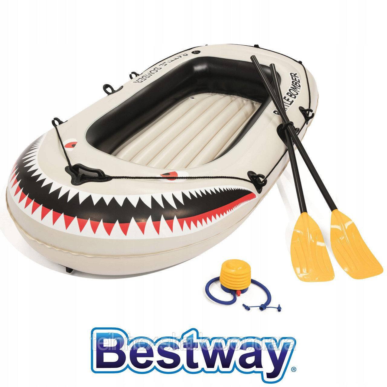 Лодка надувная Bestway 61108 Battle Bomber (184х91х37см) комплект