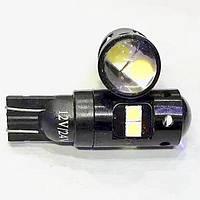 Лампа LED 12V T10 8SMD 3030 линза 250Lm БЕЛЫЙ