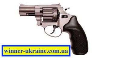 Револьвер под патрон Флобера Stalker 3 (барабан-сталь) никель черная и коричневая ручка