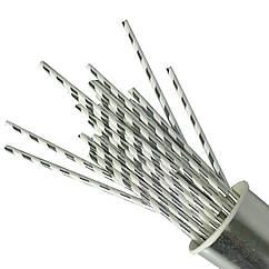 Бумажные трубочки для напитков спираль 25 штук серебро