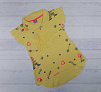 Детская футболка для девочек 8,9,10,11,12 лет с воротником
