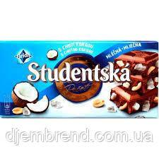 Шоколад Studentska 180 г. молочный с кокосом и арахисом,Чехия