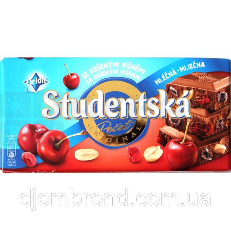 Шоколад Studentska 180г, молочный с арахисом и вишней, Чехия